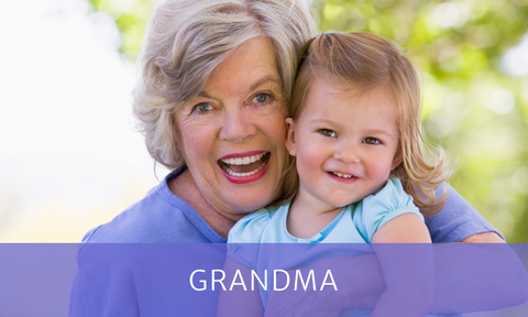 "Grandma and granddaughter with purple box overlay and text reading ""Grandma"""