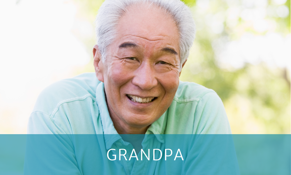 "Asian grandfather with text reading ""Grandpa"" on a blue box overlay"