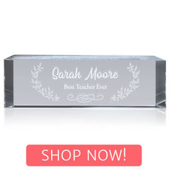 Crystal Rectangle Nameplate with Shop Now button
