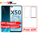 realme X50 5G Mobile Phone nfc 6.57'' Moblie Phone Snapdragon 765G 64MP Quad Camera Cellphone OPPO VOOC 30W Fast Charger