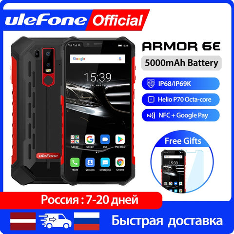 Ulefone Armor 6E  Smartphone 4GB+64GB  Android 9.0 Rugged Mobile Phone Waterproof  IP68 NFC Helio P70 Otca-core  wireless charge