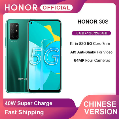 New Arrival Honor 30S 30 S 5G Smartphone Kirin 820 6.5'' 64MP Four AI Cameras Face ID Android10  Mobile Phone 40W SuperCharge
