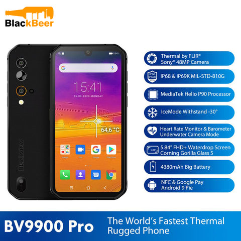 "Blackview BV9900 Pro 4G 5.84"" Mobile Phone Helio P90 Octa Core 8GB+128GB Smartphone IP68/IP69K Rugged Cellphone Thermal Camera"