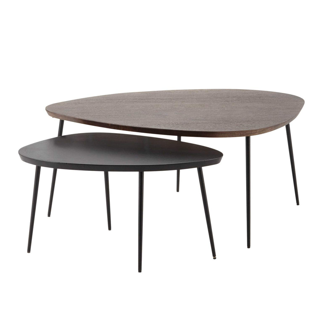 G Fine Furniture Wooden Oval Shape Nesting Coffee Tables For Living Ro
