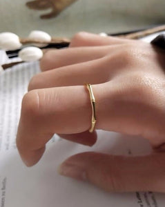 Ruby Gold Bamboo Ring