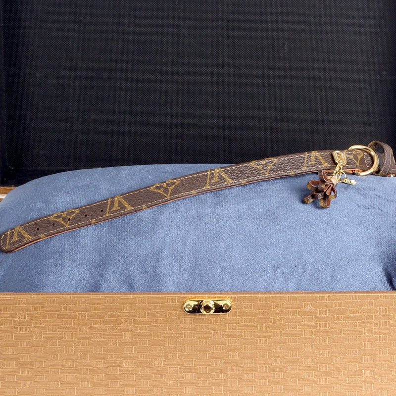 10/24 Handmade Limited Edition Halsband from vintage Louis Vuitton bag - Size 35 - DogitaDE