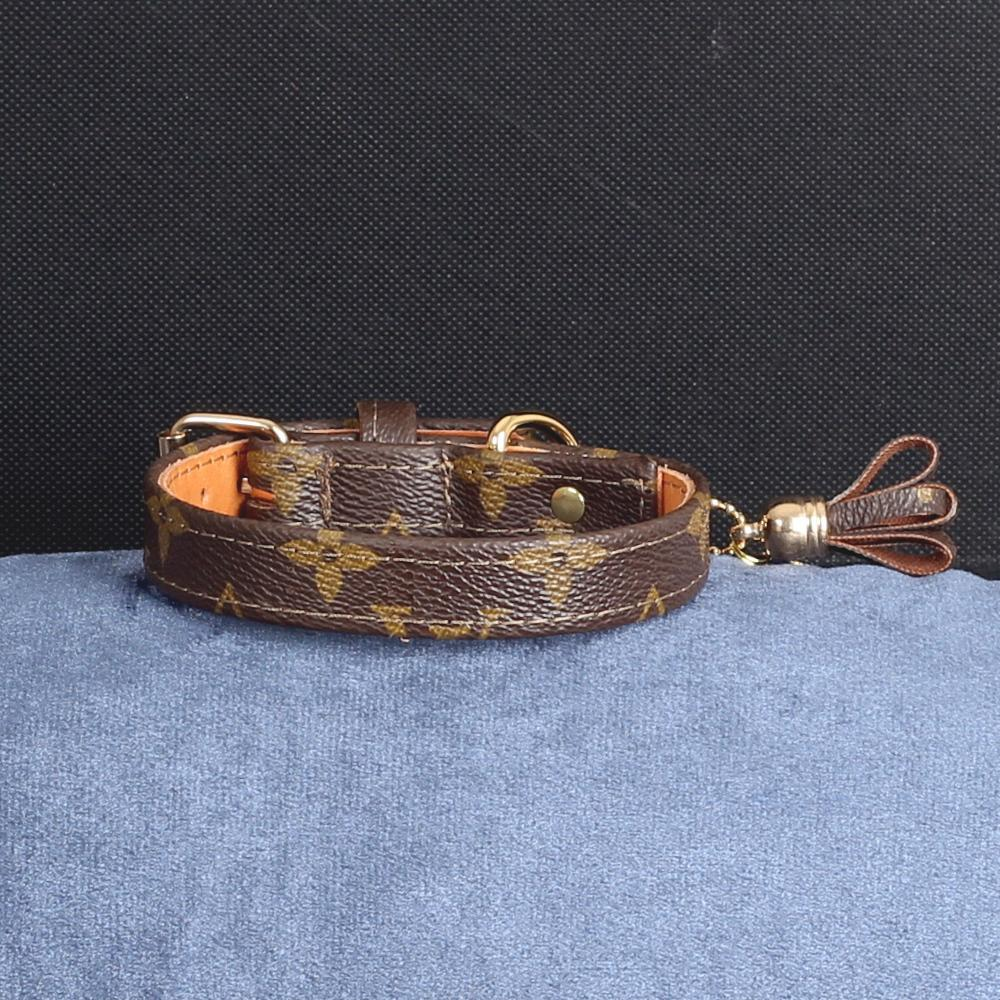 11/24 Handmade Limited Edition Halsband from vintage Louis Vuitton bag - Size 35 - DogitaDE