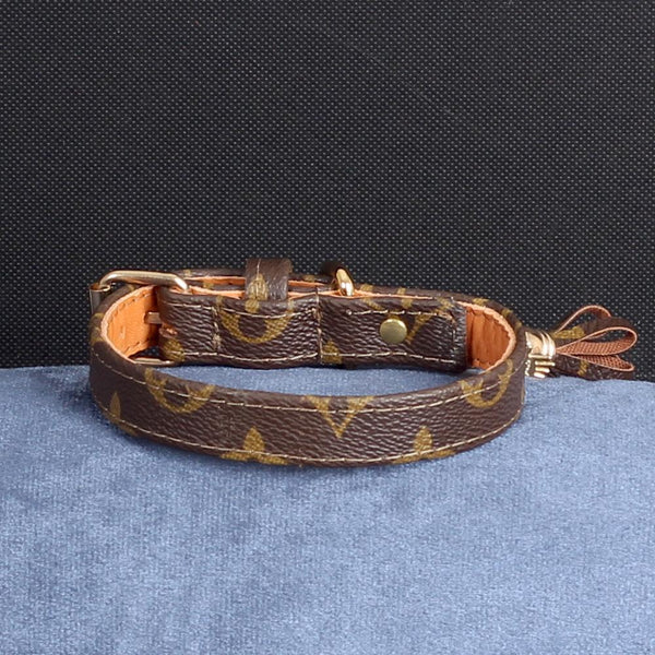 14/24 Handmade Limited Edition Halsband from vintage Louis Vuitton bag - Size 35 - DogitaDE