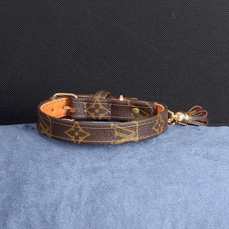 19/24 Handmade Limited Edition Halsband from vintage Louis Vuitton bag - Size 40 - DogitaDE