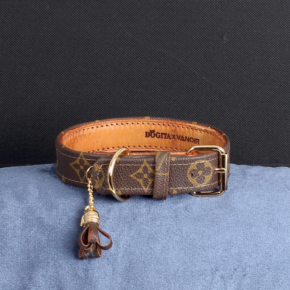 22/24 Handmade Limited Edition Halsband from vintage Louis Vuitton bag - Size 45 - DogitaDE