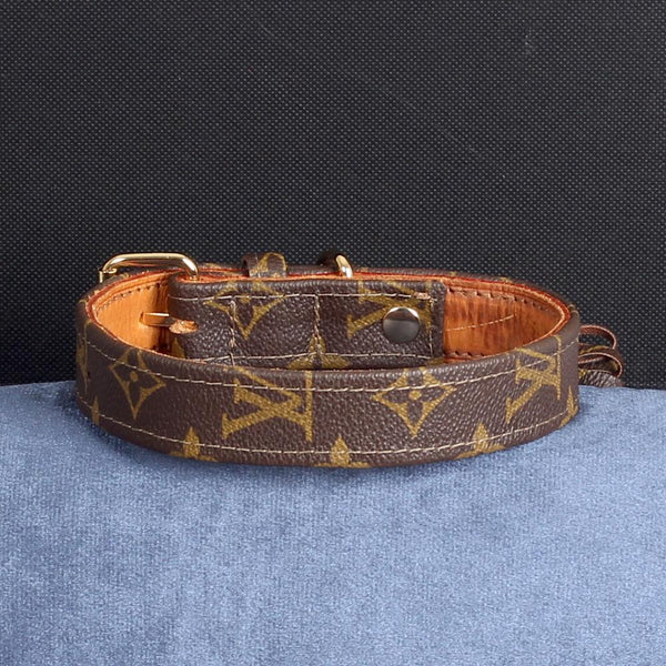 24/24 Handmade Limited Edition Halsband from vintage Louis Vuitton bag - Size 45 - DogitaDE