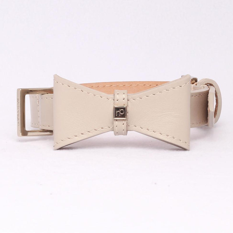 Modisches Leder-Hundehalsband in Beige