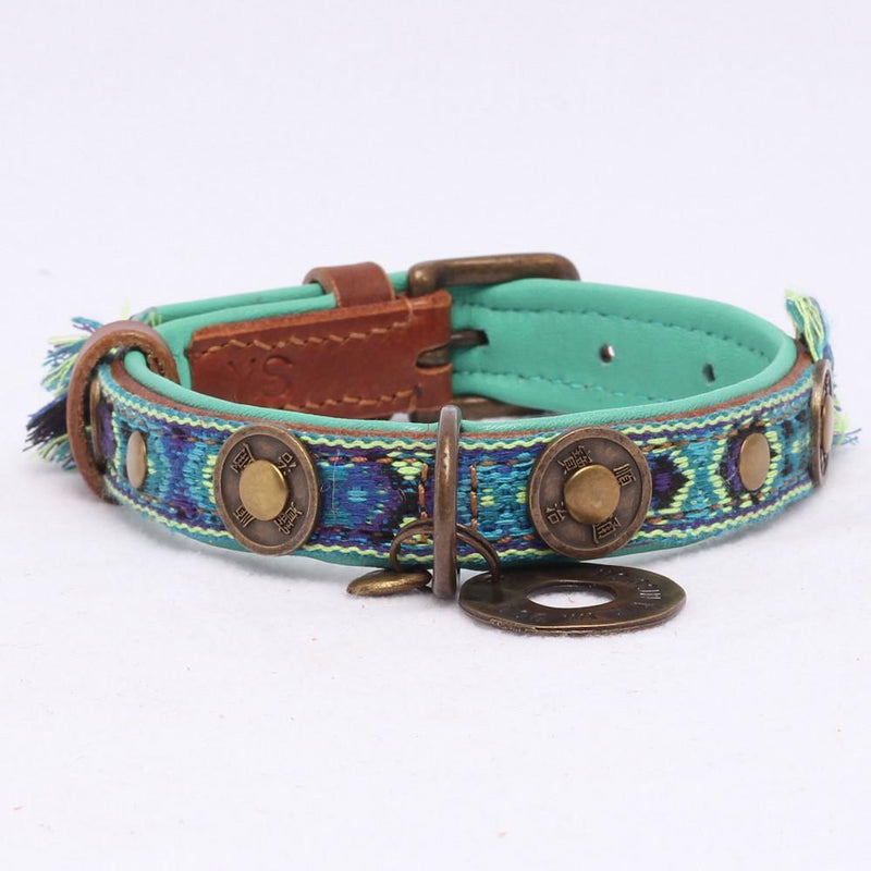 Boho Hundehalsband in Leder- Blau - Dog With a Mission