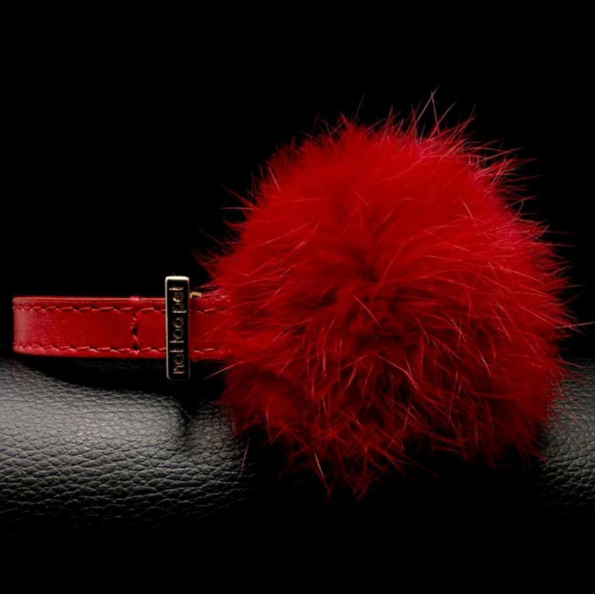 Flauschiges Halsband Leder Lippenstiftrot - Not Too Pet