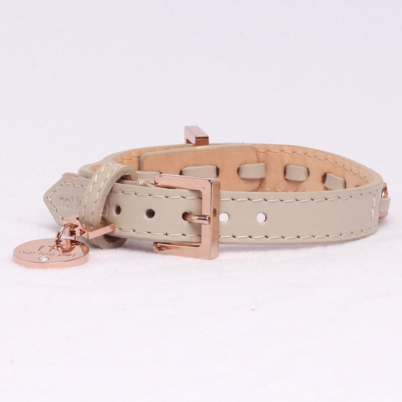Icon Halsband Roségold Kalbsleder Beige - Not Too Pet