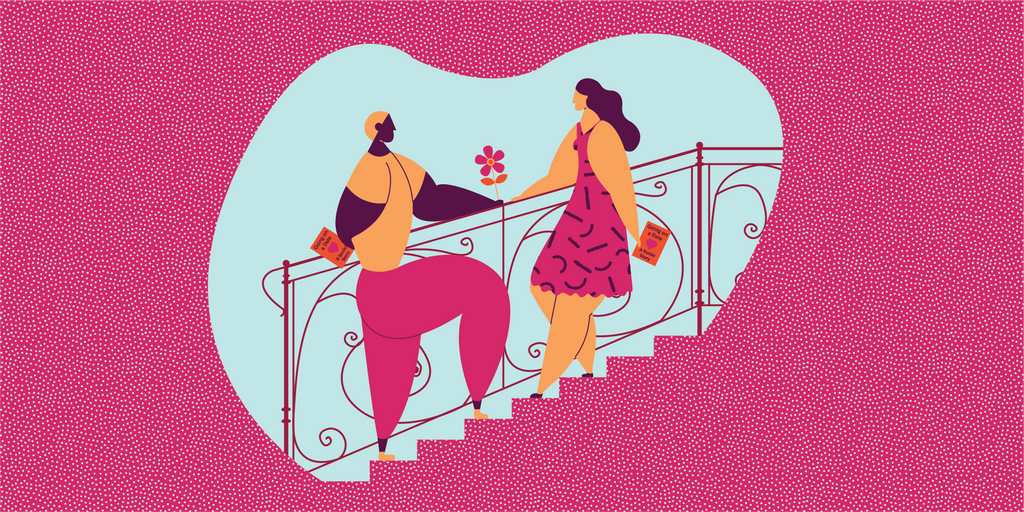 "Illustration of two people standing on a staircase facing each other. One is handing the other a flower. They are both holding books that say ""Going on a Date - A Social Story""."