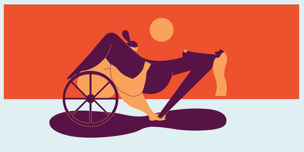 Illustration of a dark purple person sitting on top of an orange person in a wheelchair. The purple person is leaning backwards with their hands on the orange persons feet and their hair flowing backwards while receiving oral sex from the orange person.