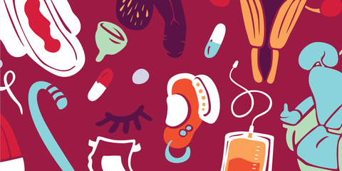 Vector illustration of assorted items against a maroon background. Items include a bloody pad, a cane, pills, a penis, an incontinence brief, a hearing aid, a catheter bag, a uterus and an electric wheelchair.