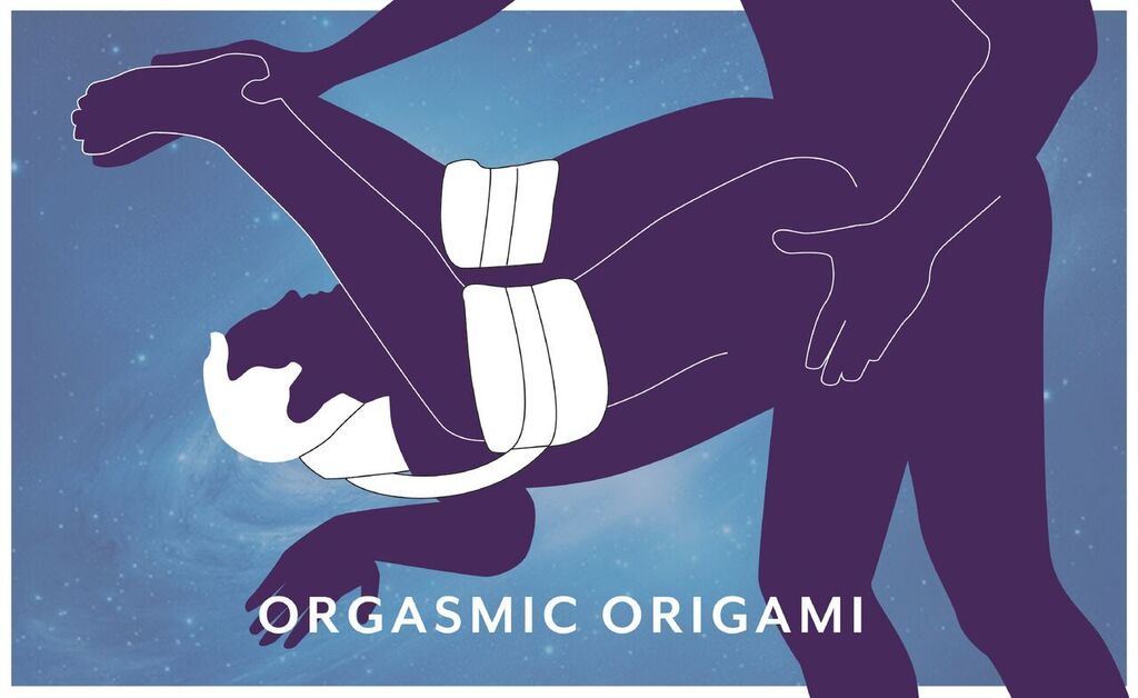 "Illustration of a person having sex with another person. The person lying down on the bed has their legs strapped through the salto slingback with the padded part of the strap behind their neck. The writing at the bottom reads ""orgasmic origami"". The persons leg are lifted up towards their face."