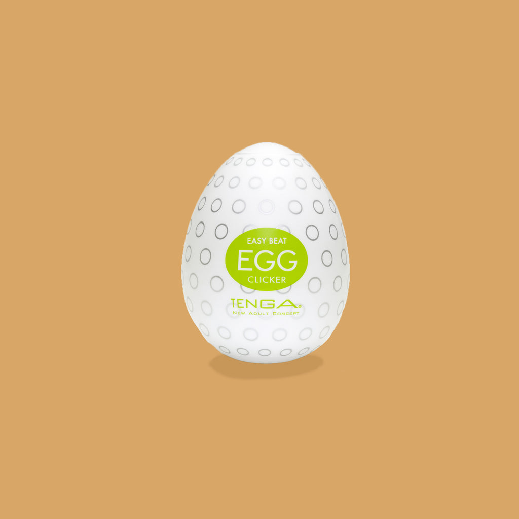 "The Tenga Egg Clicker packaging. The clicker inside pattern looks like little circles described as ""nodules and nubs""."