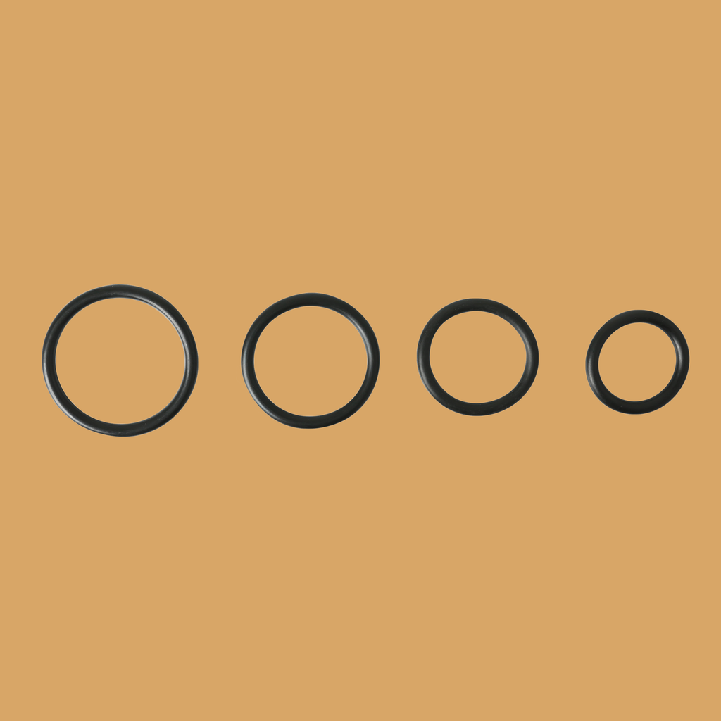 Image of 4 different sizes of rubber O-rings