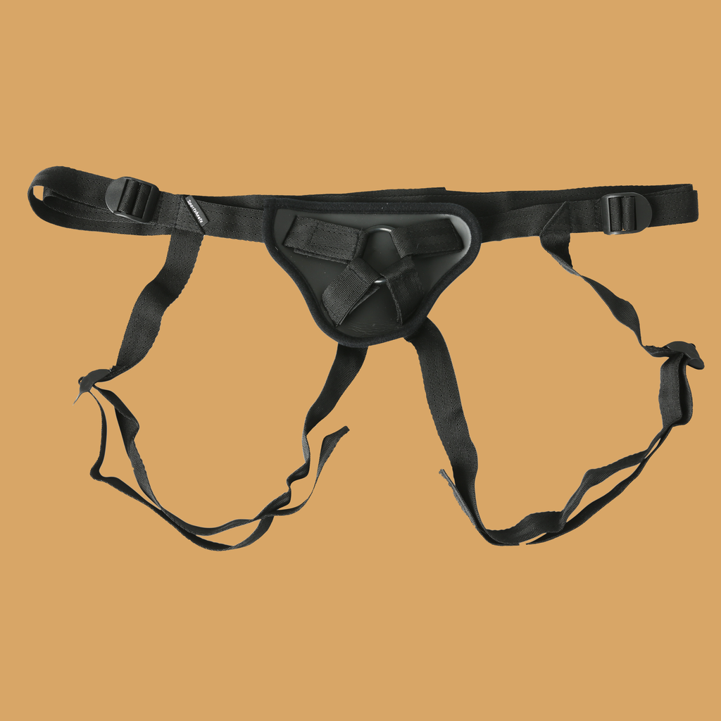 image of Deep dive strap on harness, black.