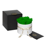 Green Roses - Classic Round Box Bouquet - Small (White Box)