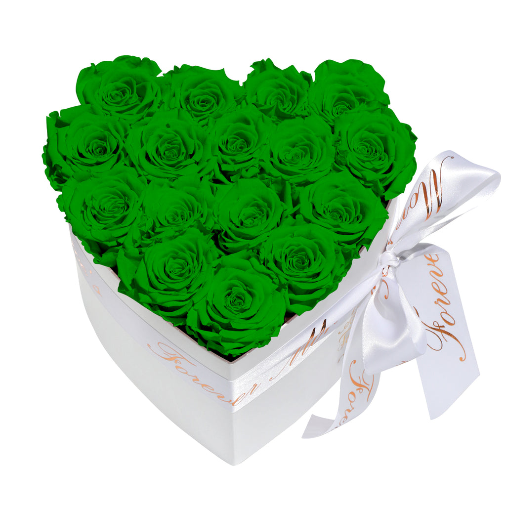 Green Roses - Heart Box Rose Bouquet - Small (White Box)