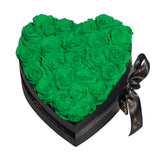 Green Roses - Heart Box Rose Bouquet - Medium (Black Box)