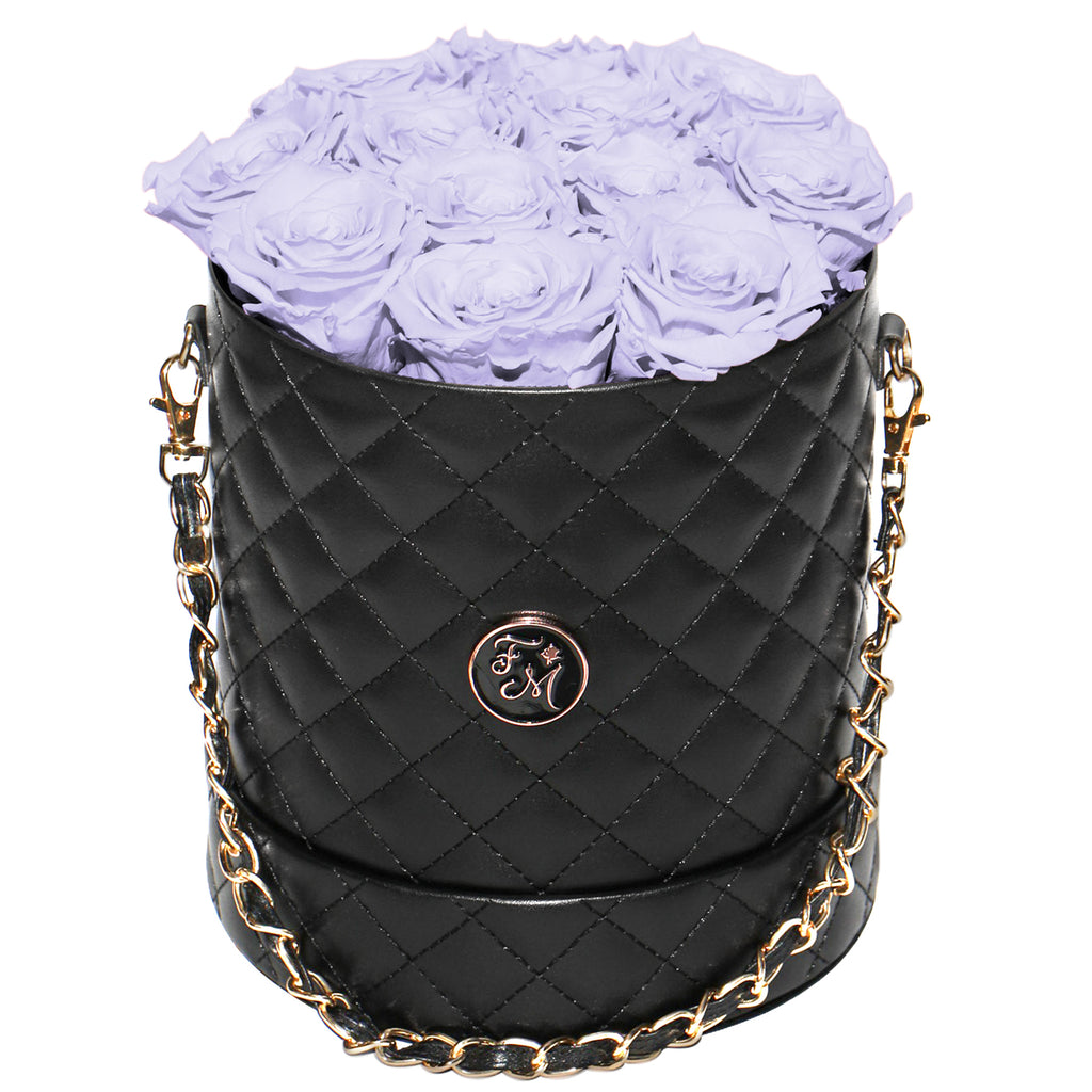 Periwinkle Roses - Quilted Box Bouquet - Medium (Black Box)
