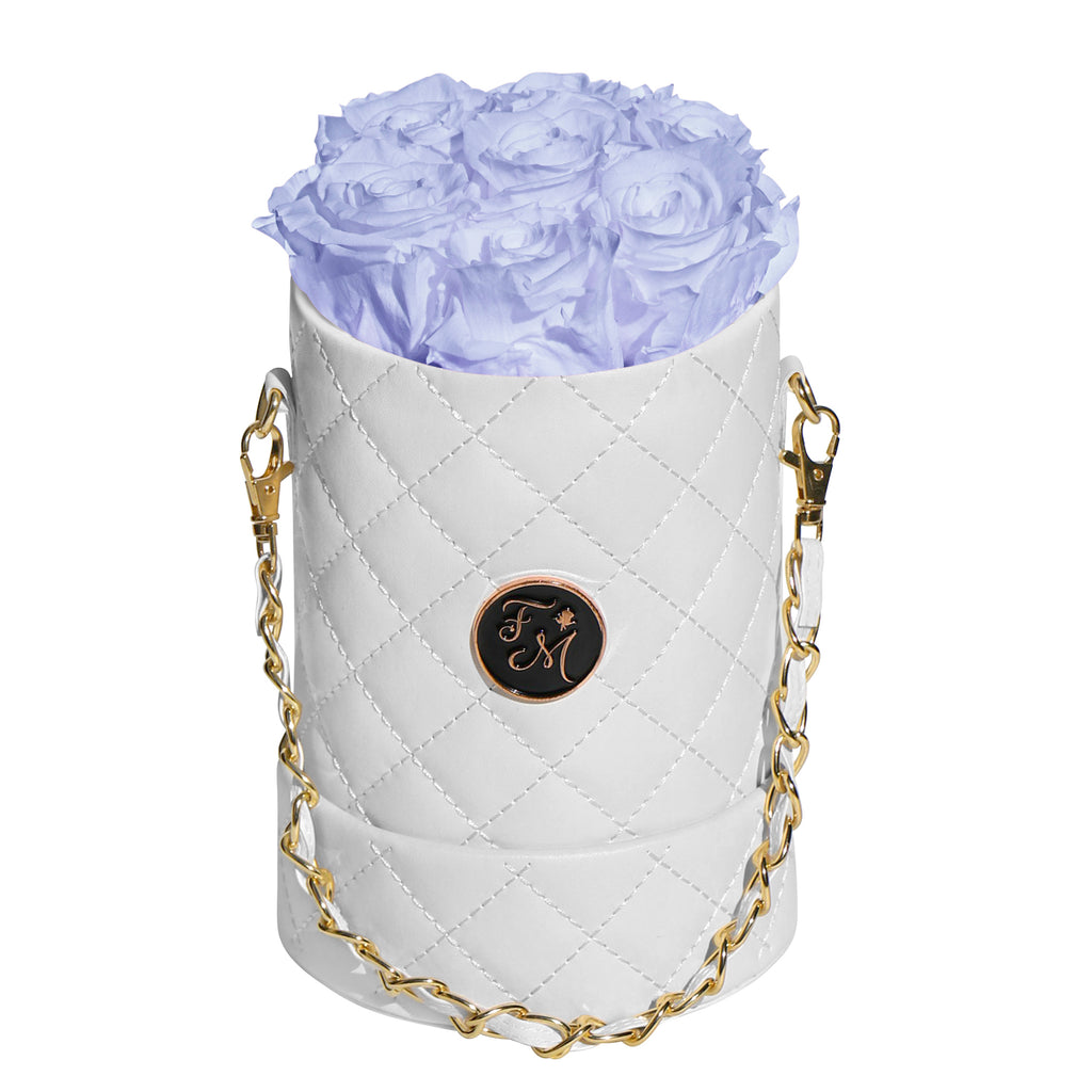 Periwinkle Roses - Quilted Box Bouquet - Small (White Box)