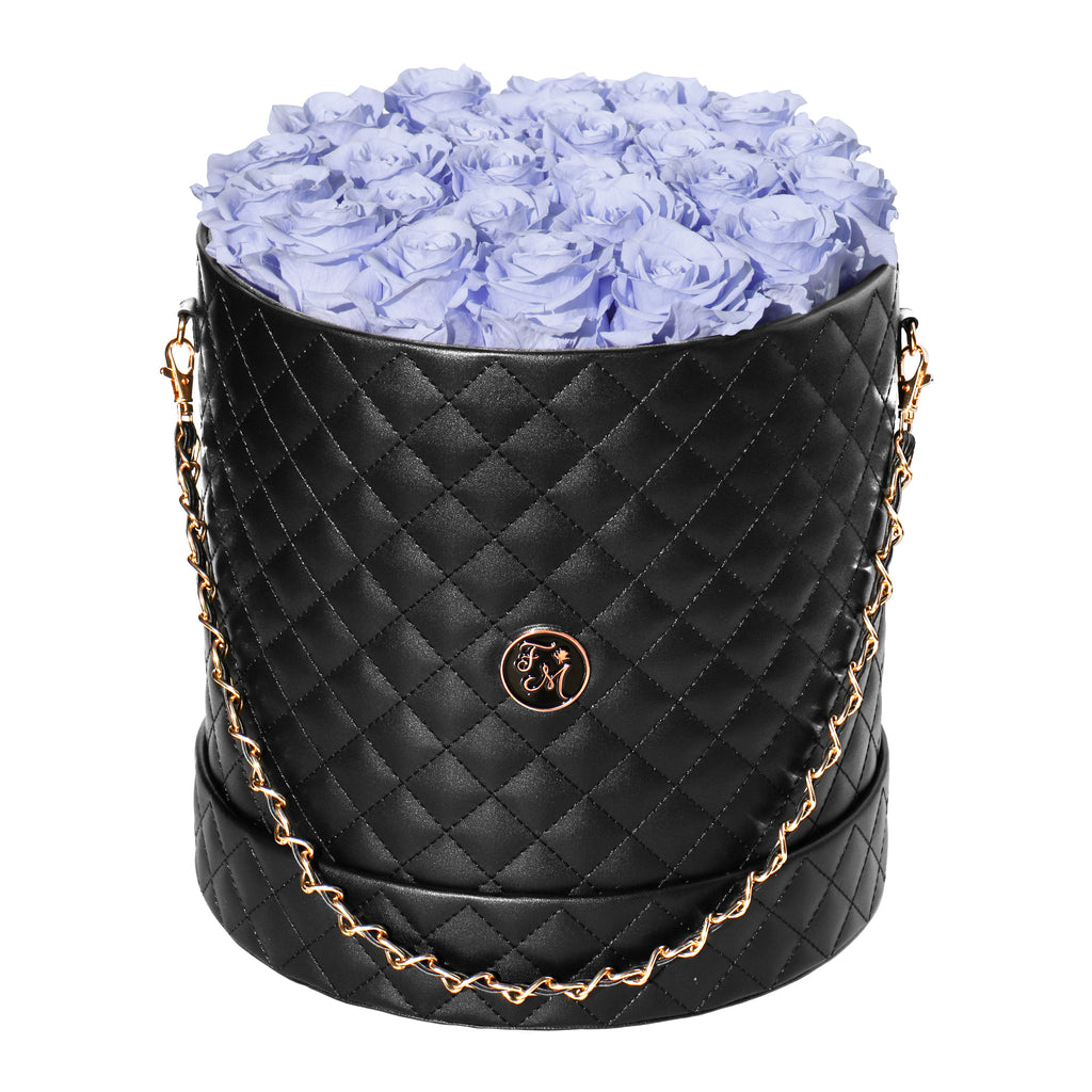 Periwinkle Roses - Quilted Box Bouquet - Large (Black Box)