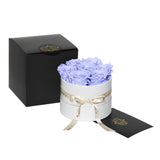 Periwinkle Roses - Classic Round Box Bouquet - Small (White Box)