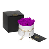 Plum Roses - Classic Round Box Bouquet - Small (White Box)