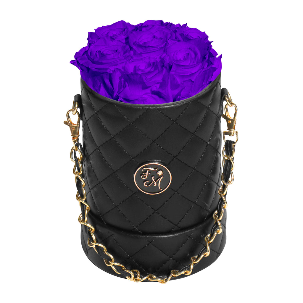 Purple Roses - Quilted Box Bouquet - Small (Black Box)