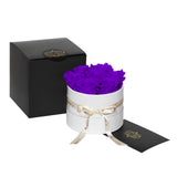 Purple Roses - Classic Round Box Bouquet - Small (White Box)