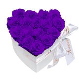 Purple Roses - Heart Box Rose Bouquet - Small (White Box)