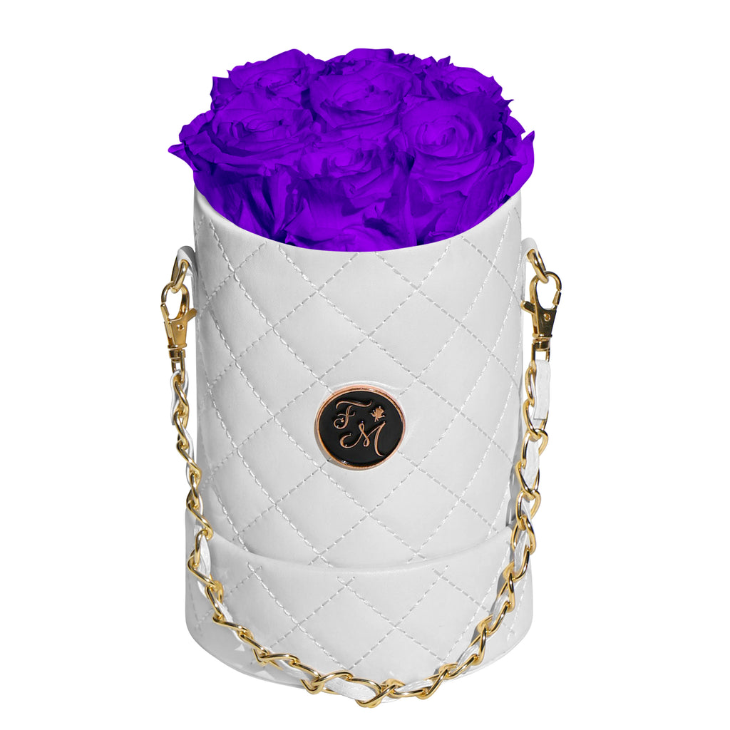 Purple Roses - Quilted Box Bouquet - Small (White Box)
