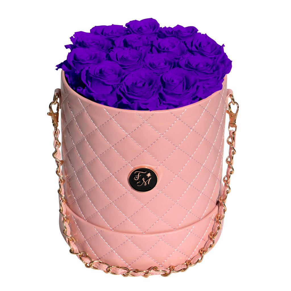 Purple Roses - Quilted Box Bouquet - Medium (Pink Box)