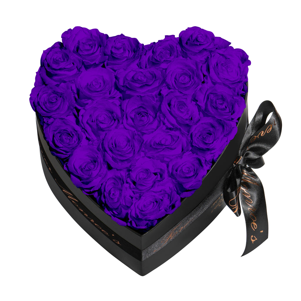 Purple Roses - Heart Box Rose Bouquet - Medium (Black Box)