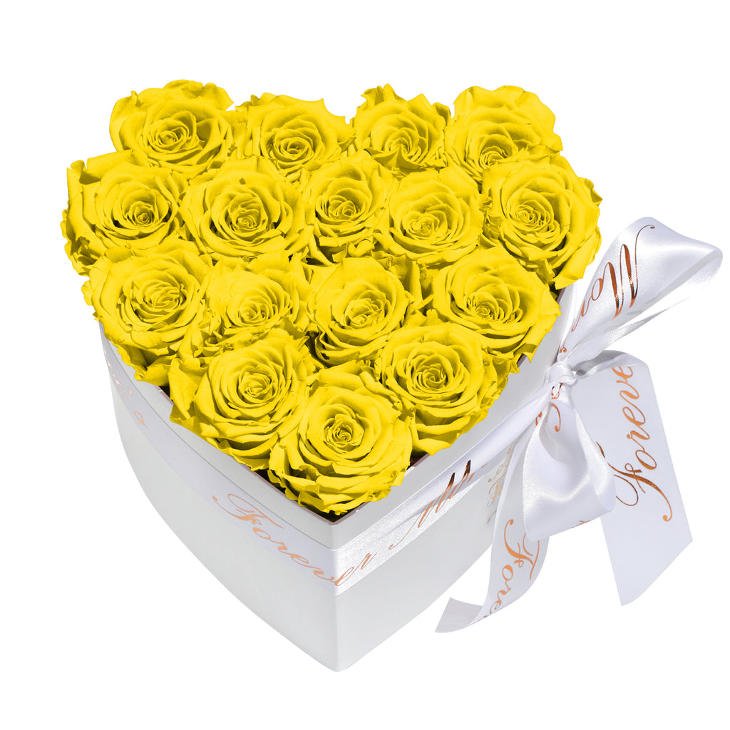 Yellow Roses - Heart Box Rose Bouquet - Small (White Box)