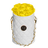 Yellow Roses - Quilted Box Bouquet - Small (White Box)