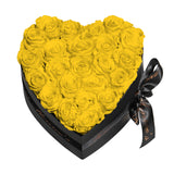 Yellow Roses - Heart Box Rose Bouquet - Medium (Black Box)