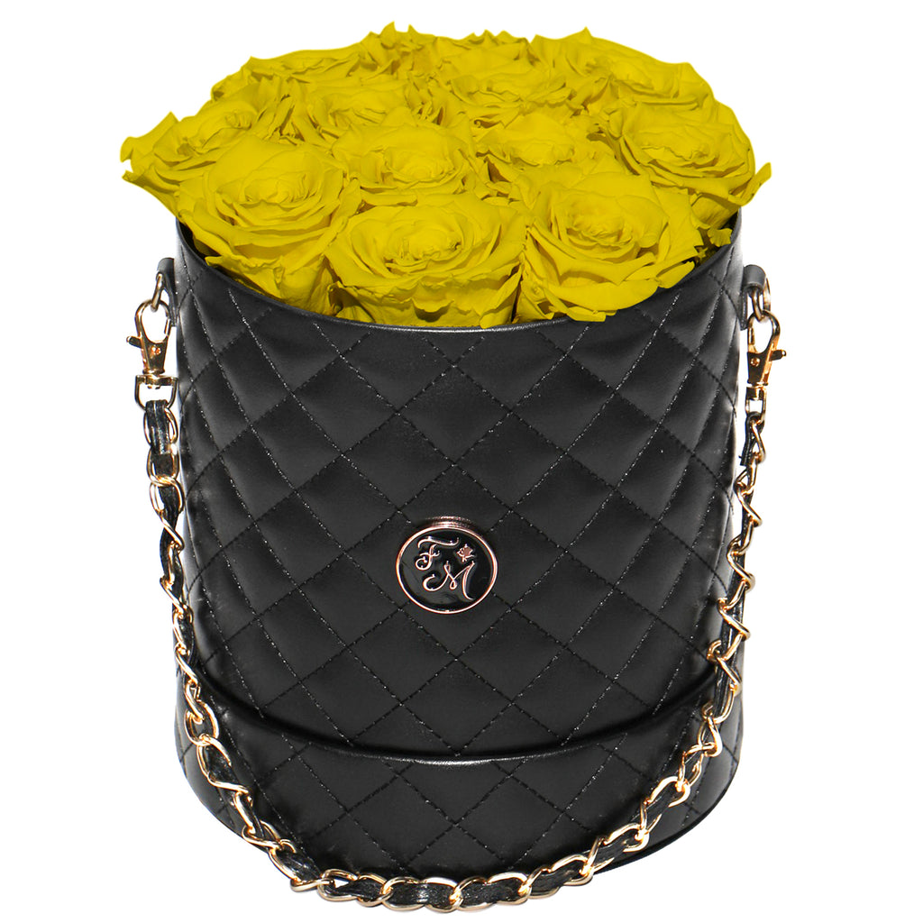 Yellow Roses - Quilted Box Bouquet - Medium (Black Box)