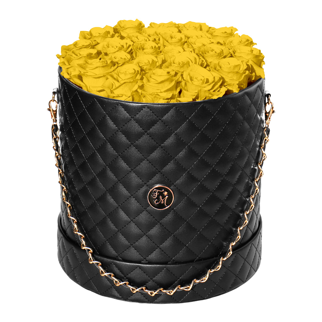 Yellow Roses - Quilted Box Bouquet - Large (Black Box)