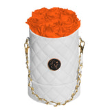 Orange Roses - Quilted Box Bouquet - Small (White Box)