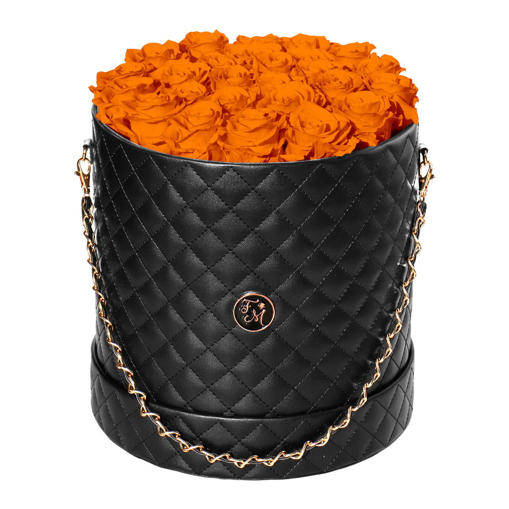 Orange Roses - Quilted Box Bouquet - Large (Black Box)