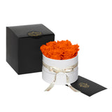 Orange Roses - Classic Round Box Bouquet - Small (White Box)