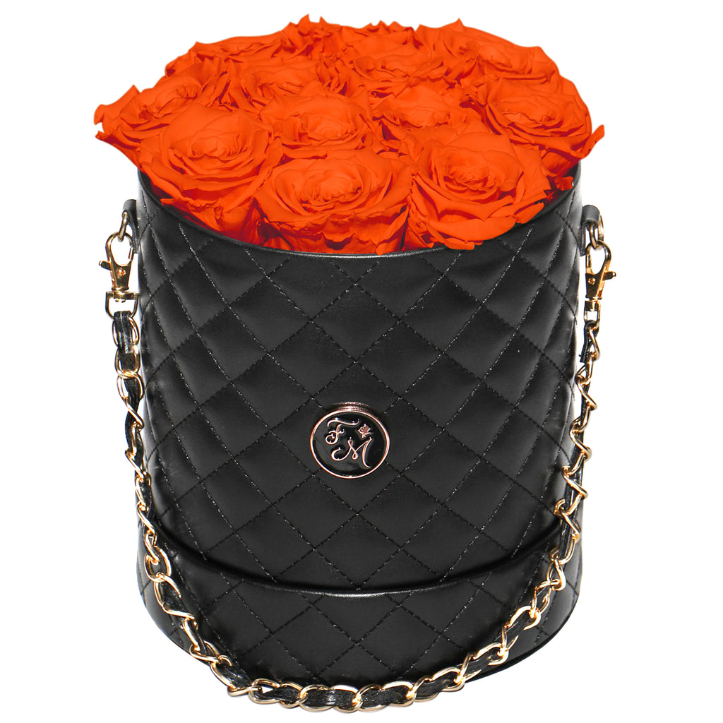 Orange Roses - Quilted Box Bouquet - Medium (Black Box)