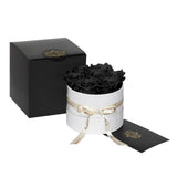 Black Roses - Classic Round Box Bouquet - Small (White Box)